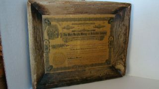 Antique 1907 Colorado Mary Murphy Mining Certificate In Barnwood Frame photo