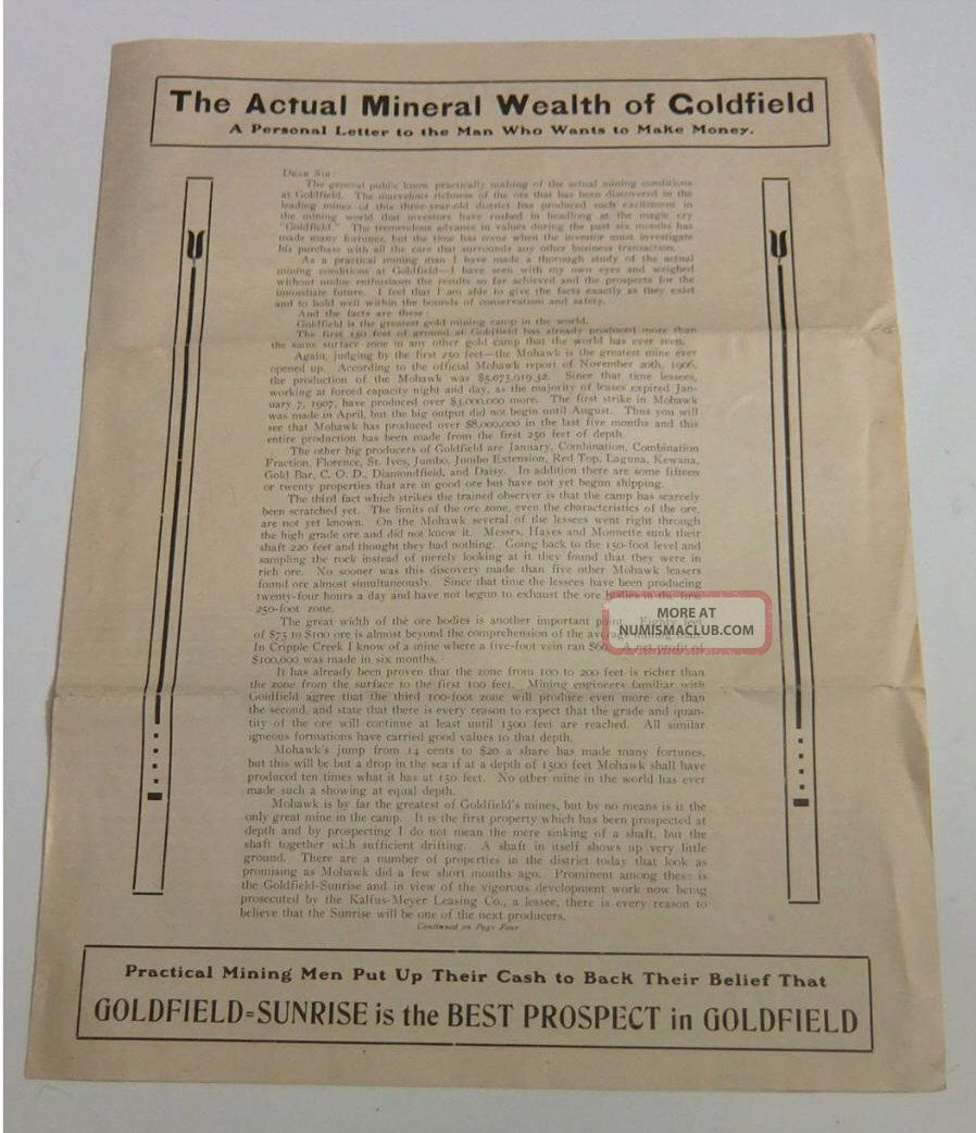 1908 Goldfield Sunrise Letter Mining Stock Promotion Nevada Gold Mine Stocks & Bonds, Scripophily photo