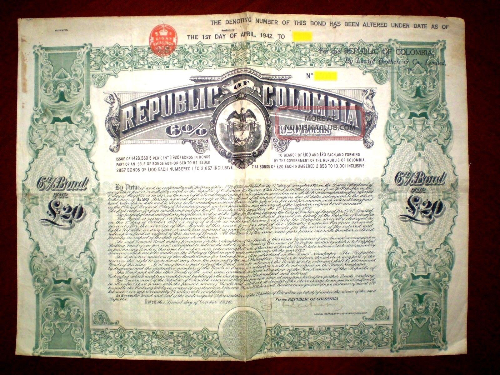 Republic Of Colombia 20 Pounds 6 1920 Bond World photo
