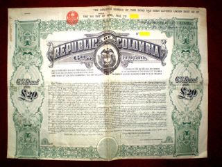 Republic Of Colombia 20 Pounds 6 1920 Bond photo