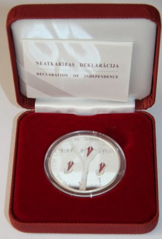Latvia 1 Lats 2010 Declaration Of Independence Silver Proof Collector Coin photo