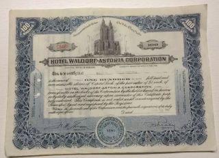 Hotel Waldorf Astoria Corpoation Stock Certificate 100 Shares 1951 No.  C8486 photo