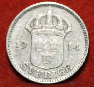Circulated 1914 - W Sweden 25 Ore Silver Foreign Coin S/h photo