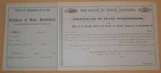 South Carolina Certificate Of Indebtedness 1879 photo