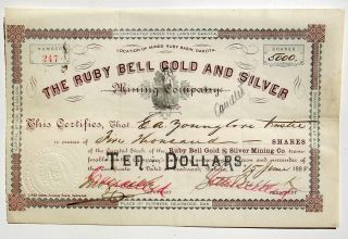1888 Gold Mining Stock W/ Seth Bullock Signature,  Deadwood Dakota Antique,  1880s photo
