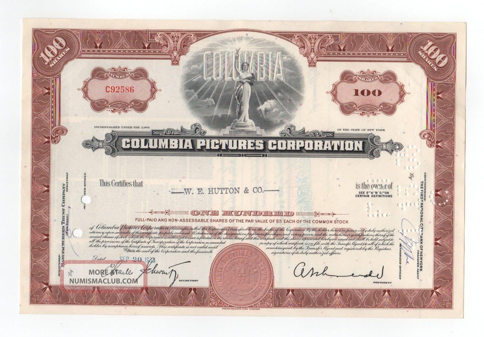 Columbia Pictures Corporation Stock Certificate Stocks & Bonds, Scripophily photo