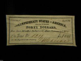 Authentic 1861 $40 Csa Loan Bond Certificate W/ Signature - photo