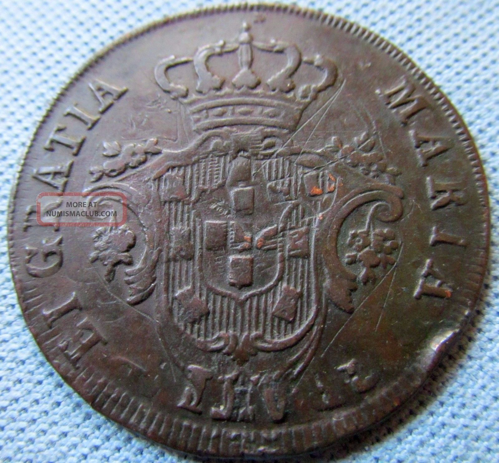 1795 Portugal Azores Old Coin 20 Reis Copper - Detail Interesting Overstrike Europe photo