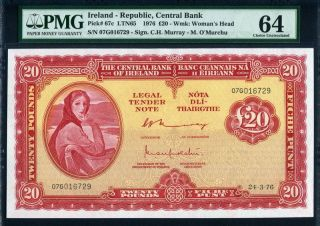 Ireland Republic 1976,  20 Pounds,  P67c,  Pmg 64 Unc photo