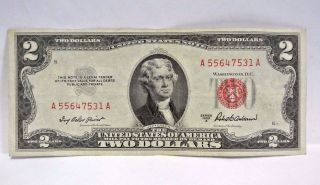 1953 A Two Dollar United States Note Red Seal (a 55647531 A) Pm77 photo