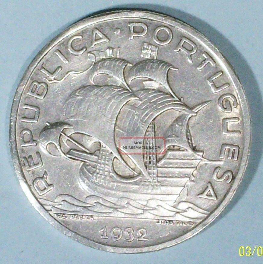 Portugal 10 Escudos 1932 Extra Fine 0.  8350 Silver Coin Europe photo