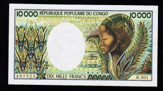 Congo Banknote 10000 Fr,  Pic 7 1983 Year,  Unc - Xf photo