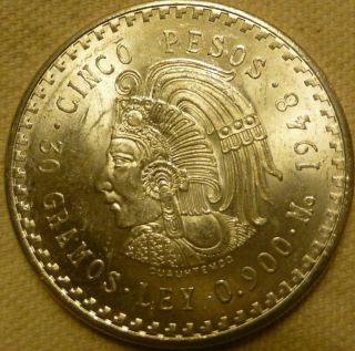 1948 Mexican Silver 5 Pesos Cuauhtemocs Asw.  8681 photo