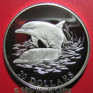 Liberia 2006 $20 Silver Proof Dolphin Rare Sea Marine Liberian African Coin 40mm photo