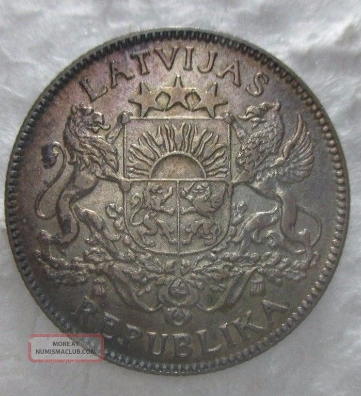 Au Nicely Toned 1924 1 Lats Latvian Silver Coin Europe photo