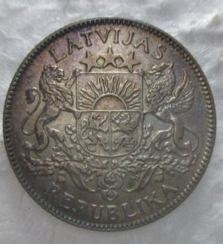 Au Nicely Toned 1924 1 Lats Latvian Silver Coin photo