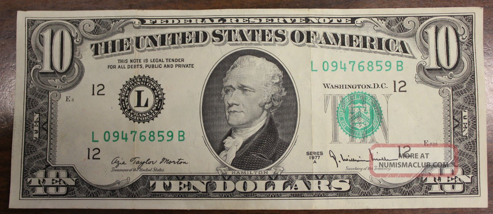 rare 1977 a 10 dollar bill overprint error federal