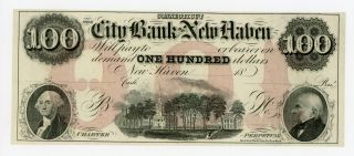 1800 ' S $100 The City Bank Of Haven,  Connecticut Note Ch.  Cu photo