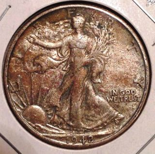 1942 - D 50c Walking Liberty Half Dollar - Almost Uncirculated,  Au - Toned photo