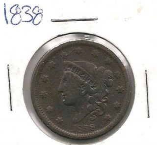 1838 Coronet Head Large Cent : Very Good, photo