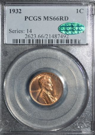 1932 - P Lincoln Cent Pcgs Ms66 Cac photo