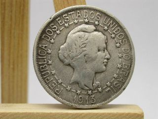 1913 Brazil 1000 Reis 2893 Grams Silver.  900 171 photo