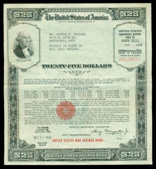 1942 Us 25 Dollars $25 E Series Wwii War Savings Bond Washington Cleveland Ohio photo
