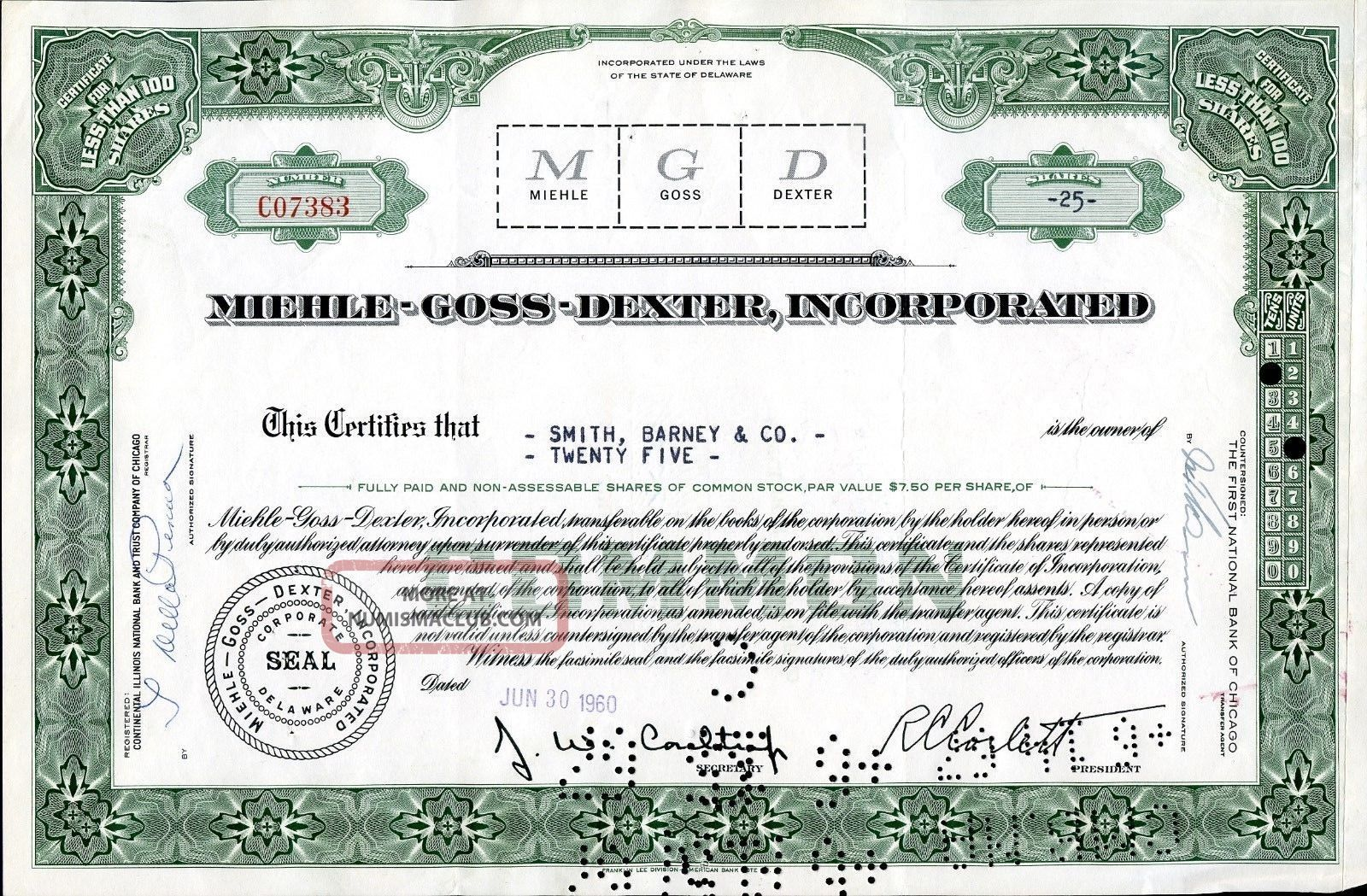 Miehle - Goss - Dexter 25 Shares 1960 U.  S.  Share Stocks & Bonds, Scripophily photo