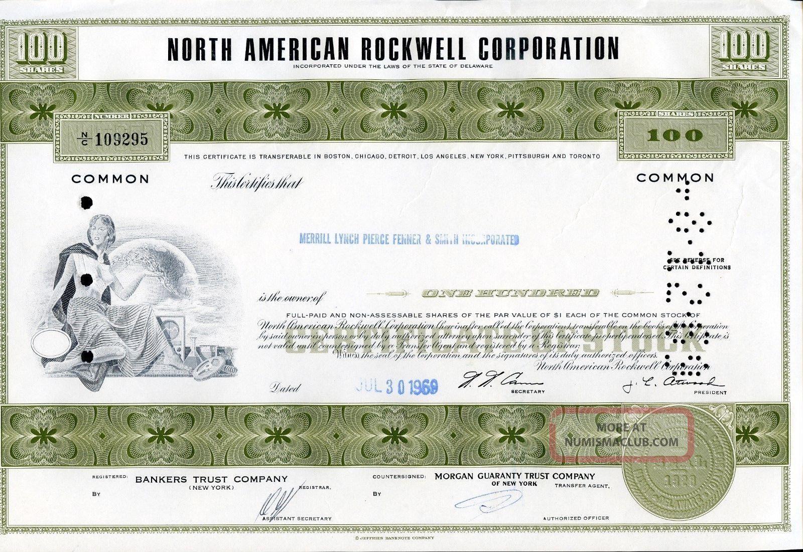 North American Rockwell Corp.  100 Shares 1969 U.  S.  Share Stocks & Bonds, Scripophily photo