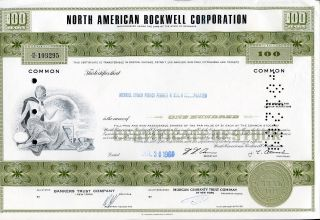 North American Rockwell Corp.  100 Shares 1969 U.  S.  Share photo