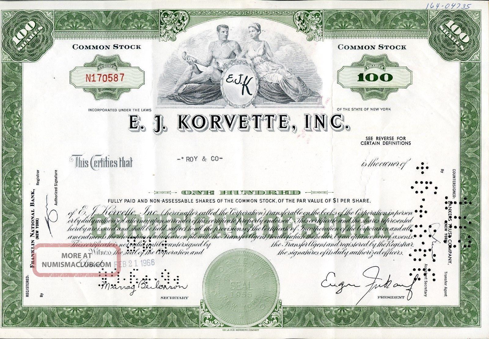 E.  J.  Korvette Inc 100 Shares 1966 U.  S.  Share Stocks & Bonds, Scripophily photo