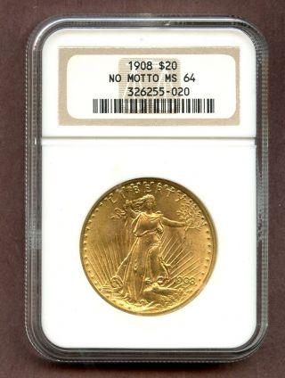 1908 Double Eagle G$20 St Gauden ' S No Motto Gold Coin $20 Ngc Ms64 Rare photo