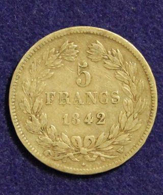 1842 - W French 5 Franc Silver Coin Bullion Circulated Francs Very Fine Vf Details photo