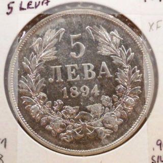1894 Bulgaria 5 Leva Extra Fine Silver Coin - Km 18 - Gorgeous photo