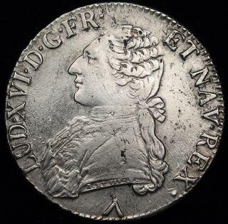 France 1777 (w) 1 Ecu Silver Crown Size Coin Xf Louis Xvi Km 564.  16 Lille photo