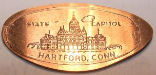 Kir - 20; Elongated Cent: State Capitol / Hartford,  Conn. photo