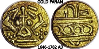 1646 - 1782 Ad Gold Fanam Native States Of India Gold Ancient Coin photo