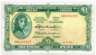 1964 Ireland One Pound Note - P64a photo