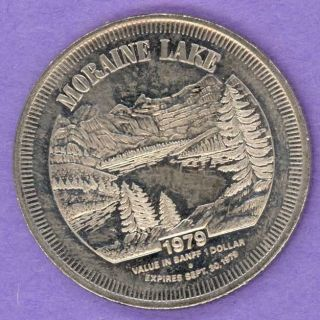 1979 Banff Lake Louis Alberta Trade Token Or Dollar Moraine Lake photo