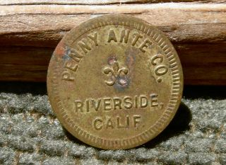 1934 Riverside California Ca Penny Ante Co Draw Poker Machine Penny Arcade Token photo