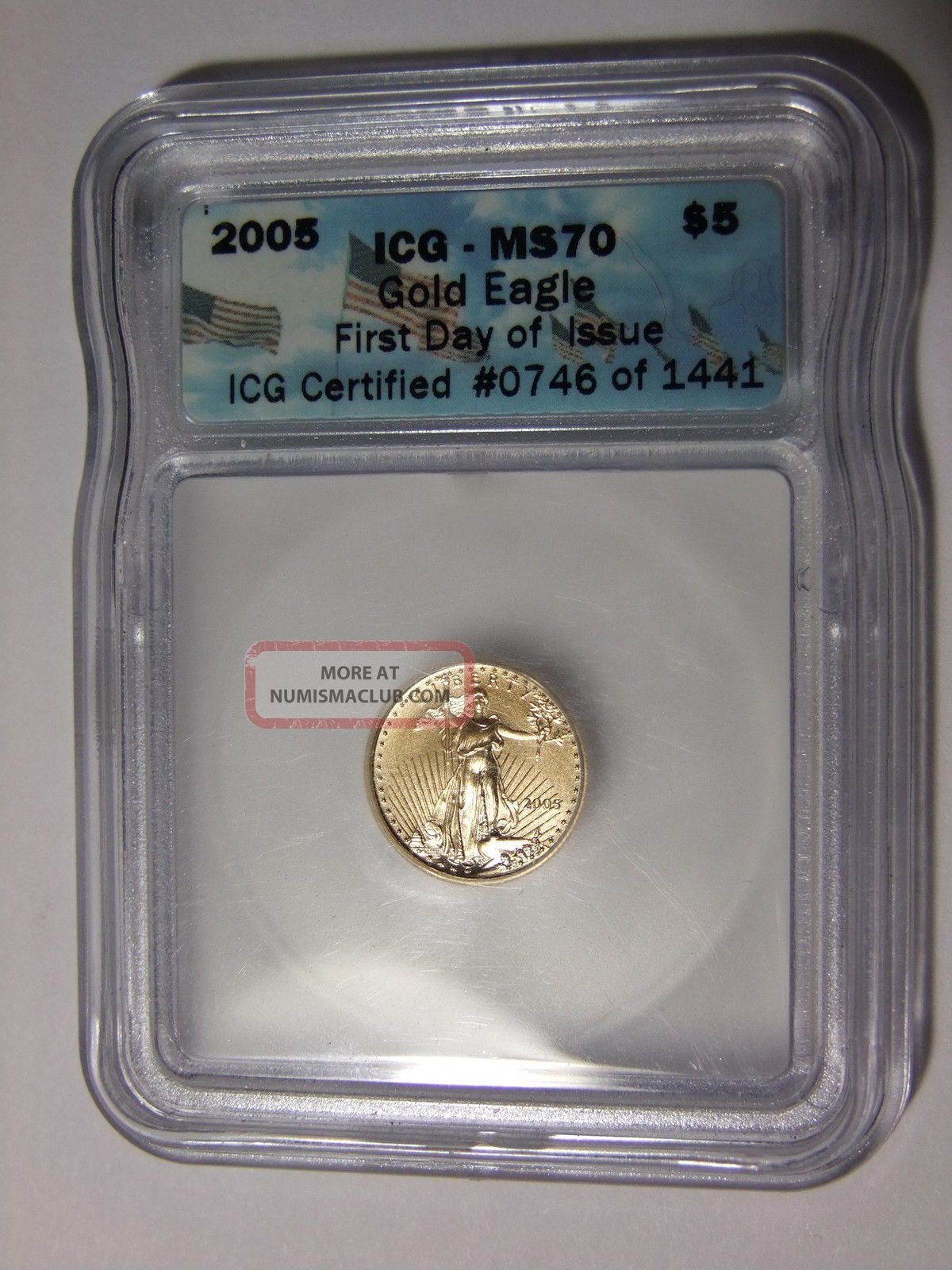 2005 5 American Gold Eagle 1 10 Oz Icg Ms70 First Day