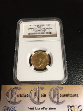 1921p Australia Gold Sovereign Ngc Ms - 63 Samaszko Carson City Gold Hoard photo