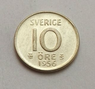 Sweden 1956 - Ts 10 Ore Xf Silver |c4651 photo