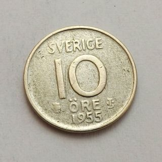 Sweden 1955 - Ts 10 Ore Vf Silver |c4650 photo