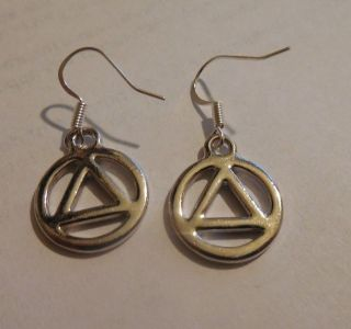 Aa Earrings Silver Alcoholics Anonymous Symbols photo