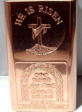 1 Pound Risen Jesus Christ.  999 Copper Bullion Art Bar Ingot Prays Jesus F/s photo