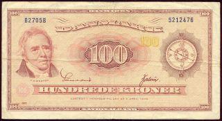 Denmark 1970 100 Kroner Banknote