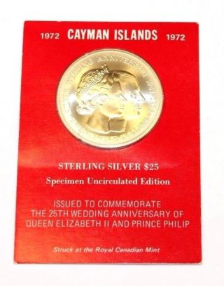 Sterling Silver 1972 Cayman Islands $25 Uncirculated Commemorative Coin De12862 photo