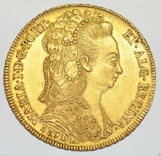 Brazil,  Maria I,  6400 Reis 1791 - R,  Rio,  Gold Coin Ef photo