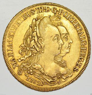 Brazil,  Maria I & Pedro Iii,  6400 Reis 1782 - R,  Rio,  Gold Coin Aef photo